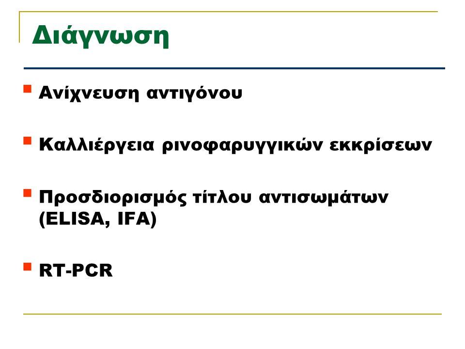 Διάγνωση  Ανίχνευση αντιγόνου  Καλλιέργεια ρινοφαρυγγικών εκκρίσεων  Προσδιορισμός τίτλου αντισωμάτων (ELISA, IFA)  RT-PCR