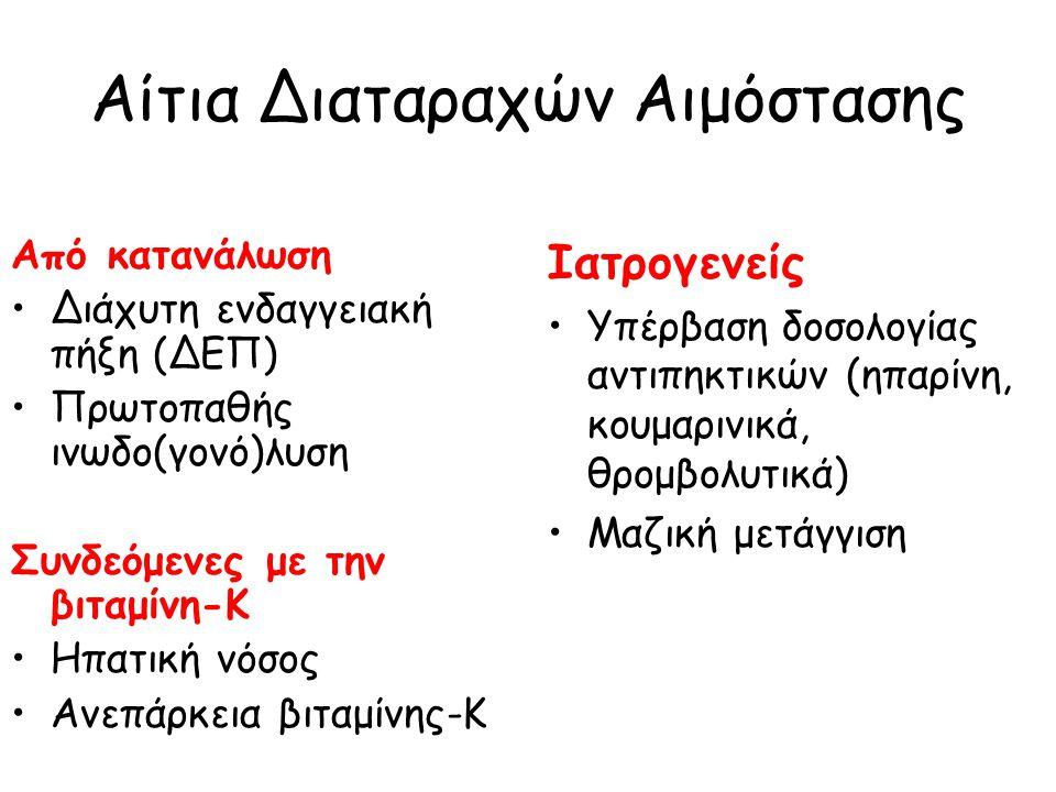 Αίτια Διαταραχών Αιμόστασης Από κατανάλωση Διάχυτη ενδαγγειακή πήξη (ΔΕΠ) Πρωτοπαθής ινωδο(γονό)λυση Συνδεόμενες με την βιταμίνη-Κ Ηπατική νόσος Ανεπάρκεια βιταμίνης-Κ Ιατρογενείς Υπέρβαση δοσολογίας αντιπηκτικών (ηπαρίνη, κουμαρινικά, θρομβολυτικά) Μαζική μετάγγιση