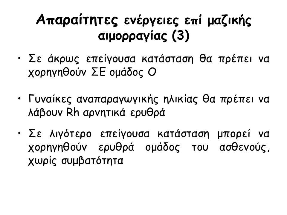 Απαραίτητες ενέργειες επί μαζικής αιμορραγίας (3) Σε άκρως επείγουσα κατάσταση θα πρέπει να χορηγηθούν ΣΕ ομάδος Ο Γυναίκες αναπαραγωγικής ηλικίας θα