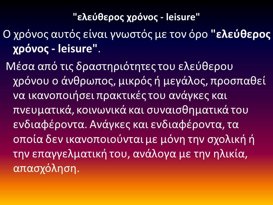 ελεύθερος χρόνος - leisure Ο χρόνος αυτός είναι γνωστός με τον όρο ελεύθερος χρόνος - leisure .