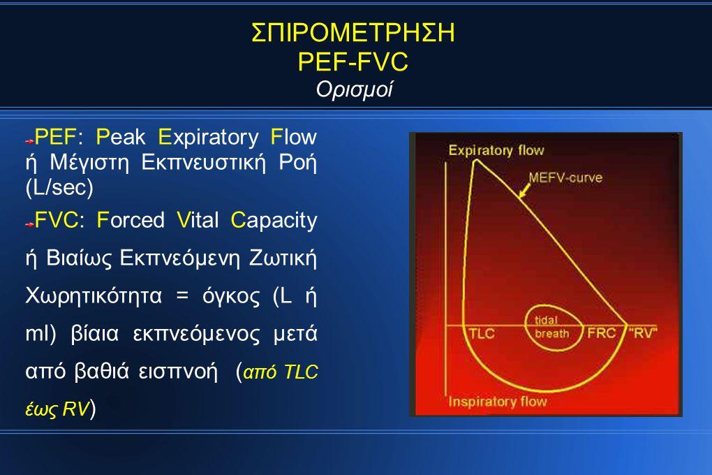 ΣΠΙΡΟΜΕΤΡΗΣΗ PEF-FVC Ορισμοί PEF: Peak Expiratory Flow ή Μέγιστη Εκπνευστική Ροή (L/sec) FVC: Forced Vital Capacity ή Βιαίως Εκπνεόμενη Ζωτική Χωρητικότητα = όγκος (L ή ml) βίαια εκπνεόμενος μετά από βαθιά εισπνοή ( από TLC έως RV )