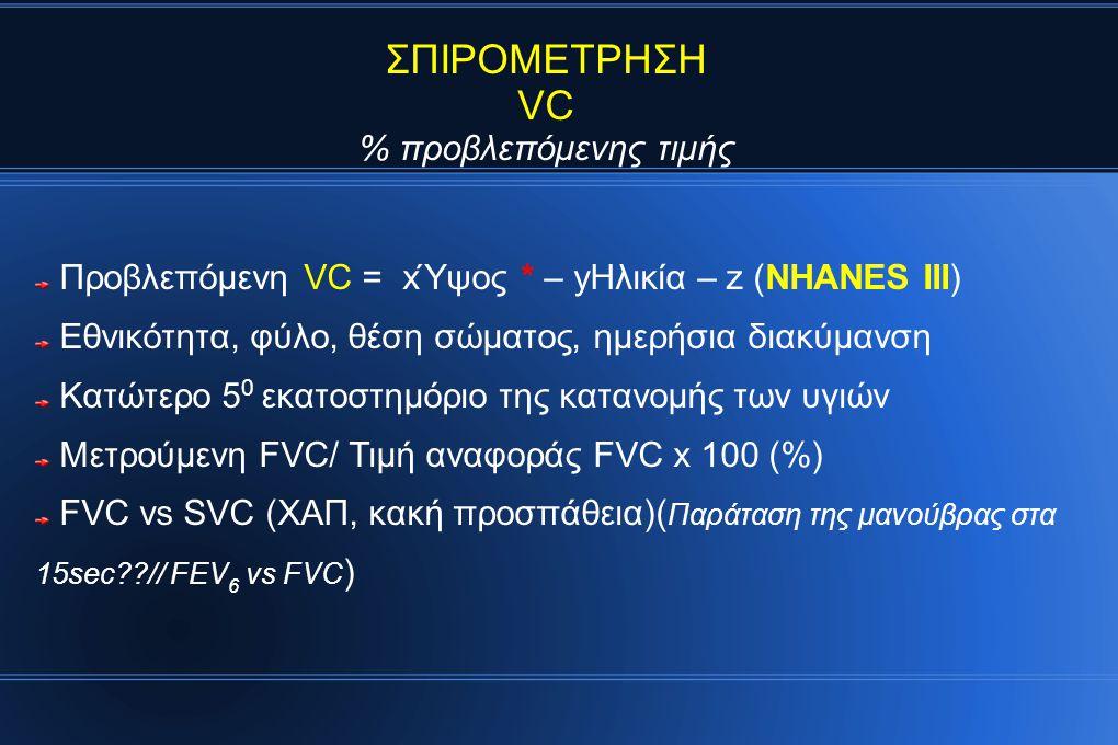 ΣΠΙΡΟΜΕΤΡΗΣΗ VC % προβλεπόμενης τιμής Προβλεπόμενη VC = xΎψος * – yΗλικία – z (NHANES III) Εθνικότητα, φύλο, θέση σώματος, ημερήσια διακύμανση Κατώτερο 5 0 εκατοστημόριο της κατανομής των υγιών Μετρούμενη FVC/ Τιμή αναφοράς FVC x 100 (%) FVC vs SVC (ΧΑΠ, κακή προσπάθεια)( Παράταση της μανούβρας στα 15sec??// FEV 6 vs FVC )