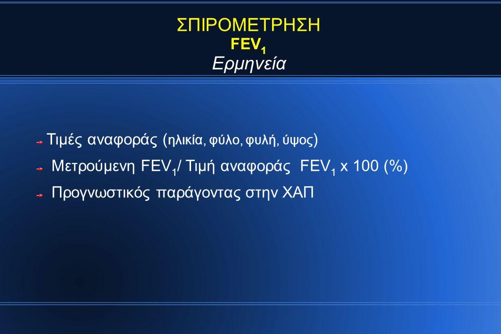 ΣΠΙΡΟΜΕΤΡΗΣΗ FEV 1 Ερμηνεία Τιμές αναφοράς ( ηλικία, φύλο, φυλή, ύψος ) Μετρούμενη FEV 1 / Τιμή αναφοράς FEV 1 x 100 (%) Προγνωστικός παράγοντας στην ΧΑΠ