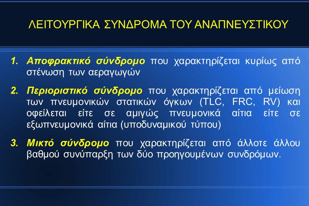 1.Αποφρακτικό σύνδρομο που χαρακτηρίζεται κυρίως από στένωση των αεραγωγών 2.Περιοριστικό σύνδρομο που χαρακτηρίζεται από μείωση των πνευμονικών στατικών όγκων (TLC, FRC, RV) και οφείλεται είτε σε αμιγώς πνευμονικά αίτια είτε σε εξωπνευμονικά αίτια (υποδυναμικού τύπου) 3.Μικτό σύνδρομο που χαρακτηρίζεται από άλλοτε άλλου βαθμού συνύπαρξη των δύο προηγουμένων συνδρόμων.