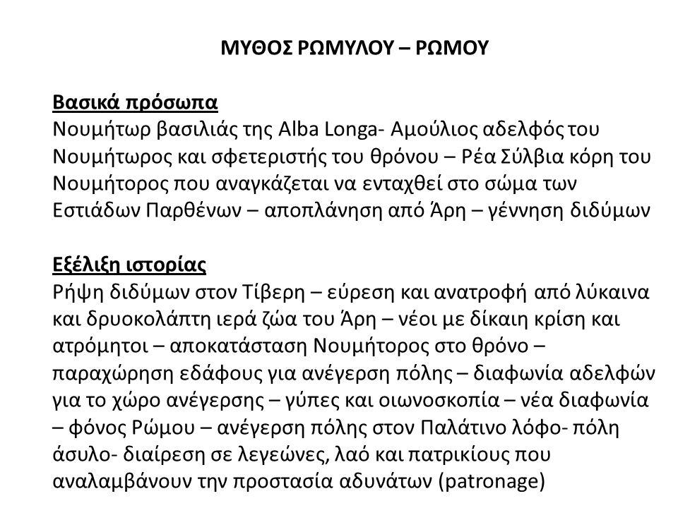 ΜΥΘΟΣ ΡΩΜΥΛΟΥ – ΡΩΜΟΥ Βασικά πρόσωπα Νουμήτωρ βασιλιάς της Alba Longa- Αμούλιος αδελφός του Νουμήτωρος και σφετεριστής του θρόνου – Ρέα Σύλβια κόρη του Νουμήτορος που αναγκάζεται να ενταχθεί στο σώμα των Εστιάδων Παρθένων – αποπλάνηση από Άρη – γέννηση διδύμων Εξέλιξη ιστορίας Ρήψη διδύμων στον Τίβερη – εύρεση και ανατροφή από λύκαινα και δρυοκολάπτη ιερά ζώα του Άρη – νέοι με δίκαιη κρίση και ατρόμητοι – αποκατάσταση Νουμήτορος στο θρόνο – παραχώρηση εδάφους για ανέγερση πόλης – διαφωνία αδελφών για το χώρο ανέγερσης – γύπες και οιωνοσκοπία – νέα διαφωνία – φόνος Ρώμου – ανέγερση πόλης στον Παλάτινο λόφο- πόλη άσυλο- διαίρεση σε λεγεώνες, λαό και πατρικίους που αναλαμβάνουν την προστασία αδυνάτων (patronage)