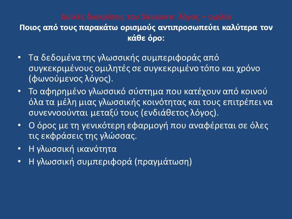 Δυϊκές διακρίσεις του Saussure: λόγος – ομιλία Ποιος από τους παρακάτω ορισμούς αντιπροσωπεύει καλύτερα τον κάθε όρο: Τα δεδομένα της γλωσσικής συμπεριφοράς από συγκεκριμένους ομιλητές σε συγκεκριμένο τόπο και χρόνο (φωνούμενος λόγος).