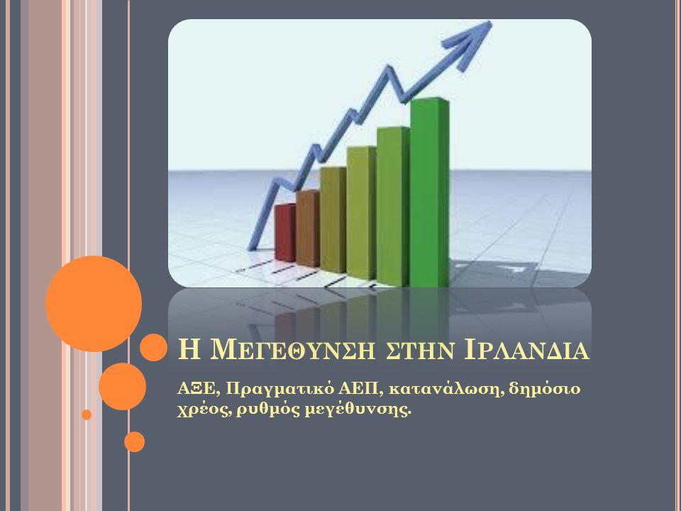 Η Μ ΕΓΕΘΥΝΣΗ ΣΤΗΝ Ι ΡΛΑΝΔΙΑ ΑΞΕ, Πραγματικό ΑΕΠ, κατανάλωση, δημόσιο χρέος, ρυθμός μεγέθυνσης.