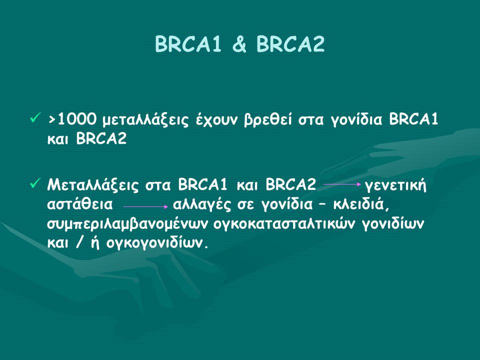 BRCA1 & BRCA2 >1000 μεταλλάξεις έχουν βρεθεί στα γονίδια BRCA1 και BRCA2 Μεταλλάξεις στα BRCA1 και BRCA2γενετική αστάθειααλλαγές σε γονίδια – κλειδιά, συμπεριλαμβανομένων ογκοκατασταλτικών γονιδίων και / ή ογκογονιδίων.