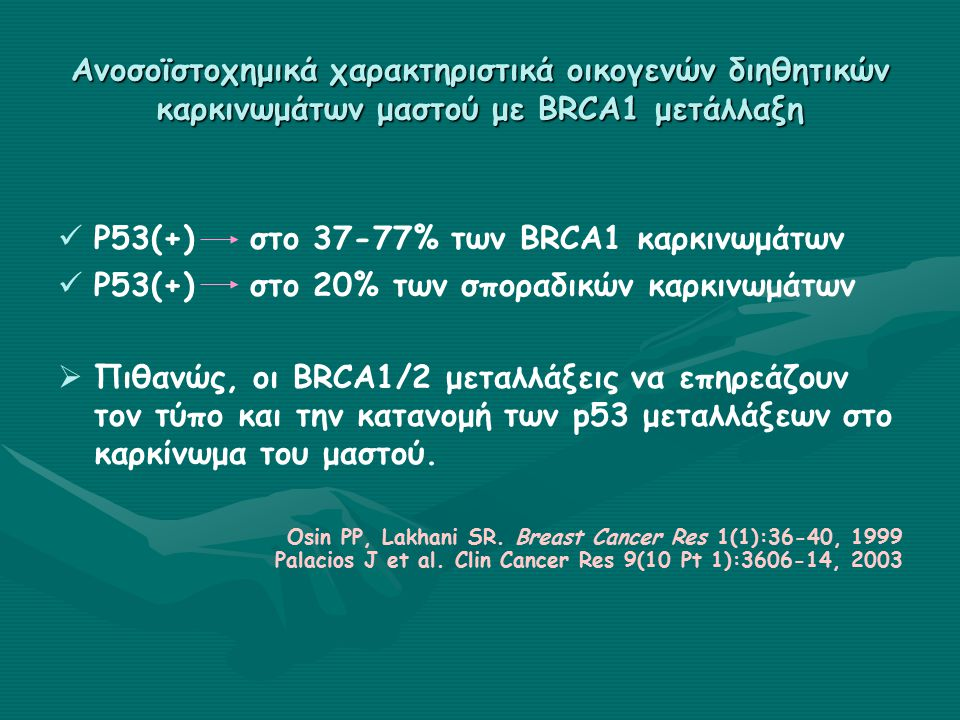 Ανοσοϊστοχημικά χαρακτηριστικά οικογενών διηθητικών καρκινωμάτων μαστού με BRCA1 μετάλλαξη P53(+)στο 37-77% των BRCA1 καρκινωμάτων P53(+)στο 20% των σποραδικών καρκινωμάτων   Πιθανώς, οι BRCA1/2 μεταλλάξεις να επηρεάζουν τον τύπο και την κατανομή των p53 μεταλλάξεων στο καρκίνωμα του μαστού.