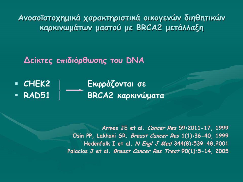 Ανοσοϊστοχημικά χαρακτηριστικά οικογενών διηθητικών καρκινωμάτων μαστού με BRCA2 μετάλλαξη Δείκτες επιδιόρθωσης του DNA   CHEK2Εκφράζονται σε   RAD51BRCA2 καρκινώματα Armes JE et al.