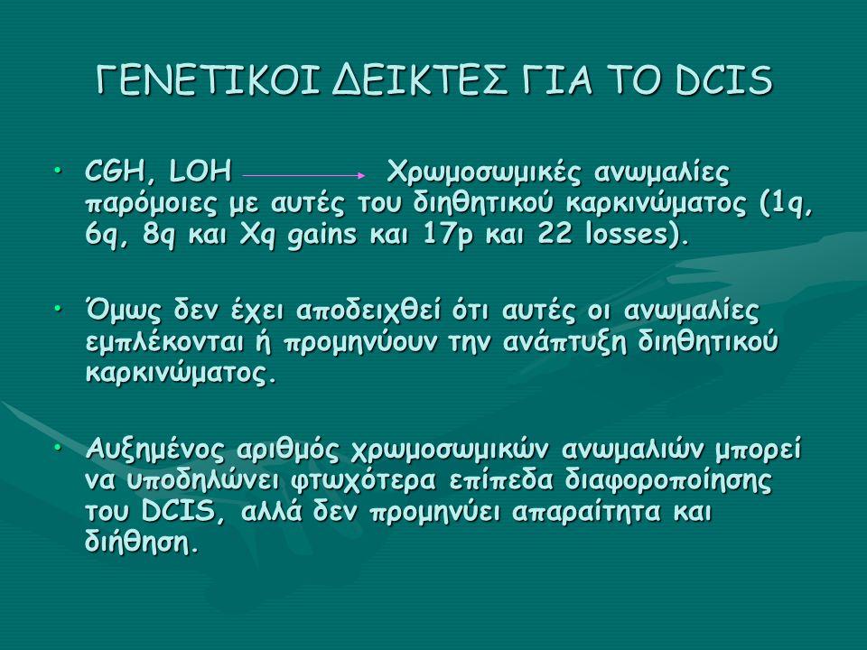 ΓΕΝΕΤΙΚΟΙ ΔΕΙΚΤΕΣ ΓΙΑ ΤΟ DCIS CGH, LOH Χρωμοσωμικές ανωμαλίες παρόμοιες με αυτές του διηθητικού καρκινώματος (1q, 6q, 8q και Xq gains και 17p και 22 losses).CGH, LOH Χρωμοσωμικές ανωμαλίες παρόμοιες με αυτές του διηθητικού καρκινώματος (1q, 6q, 8q και Xq gains και 17p και 22 losses).