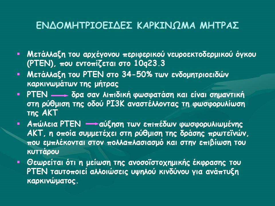 ΕΝΔΟΜΗΤΡΙΟΕΙΔΕΣ ΚΑΡΚΙΝΩΜΑ ΜΗΤΡΑΣ   Μετάλλαξη του αρχέγονου περιφερικού νευροεκτοδερμικού όγκου (PTEN), που εντοπίζεται στο 10q23.3   Μετάλλαξη του PTEN στο 34-50% των ενδομητριοειδών καρκινωμάτων της μήτρας   PTENδρα σαν λιπιδική φωσφατάση και είναι σημαντική στη ρύθμιση της οδού ΡΙ3Κ αναστέλλοντας τη φωσφορυλίωση της ΑΚΤ   Απώλεια ΡΤΕΝαύξηση των επιπέδων φωσφορυλιωμένης ΑΚΤ, η οποία συμμετέχει στη ρύθμιση της δράσης πρωτεϊνών, που εμπλέκονται στον πολλαπλασιασμό και στην επιβίωση του κυττάρου   Θεωρείται ότι η μείωση της ανοσοϊστοχημικής έκφρασης του ΡΤΕΝ ταυτοποιεί αλλοιώσεις υψηλού κινδύνου για ανάπτυξη καρκινώματος.