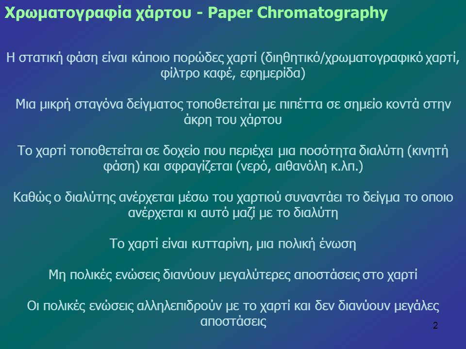 2 Η στατική φάση είναι κάποιο πορώδες χαρτί (διηθητικό/χρωματογραφικό χαρτί, φίλτρο καφέ, εφημερίδα) Μια μικρή σταγόνα δείγματος τοποθετείται με πιπέτ