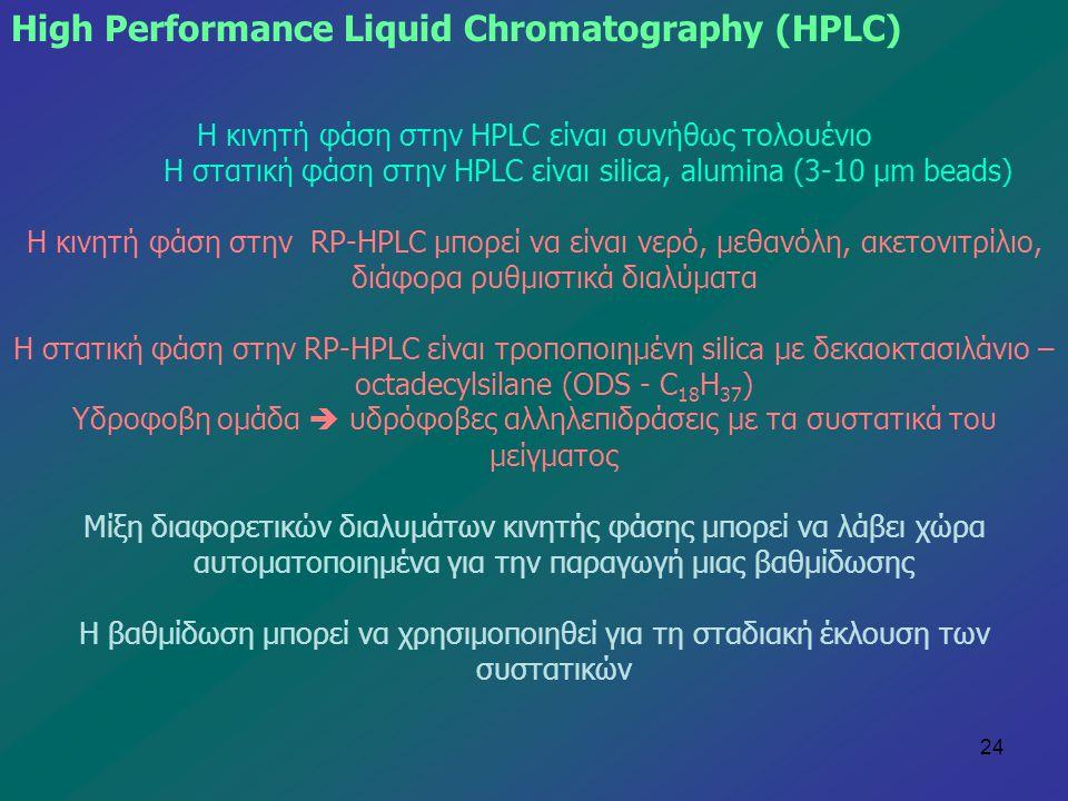 24 Η κινητή φάση στην HPLC είναι συνήθως τολουένιο H στατική φάση στην HPLC είναι silica, alumina (3-10 μm beads) Η κινητή φάση στην RP-HPLC μπορεί να