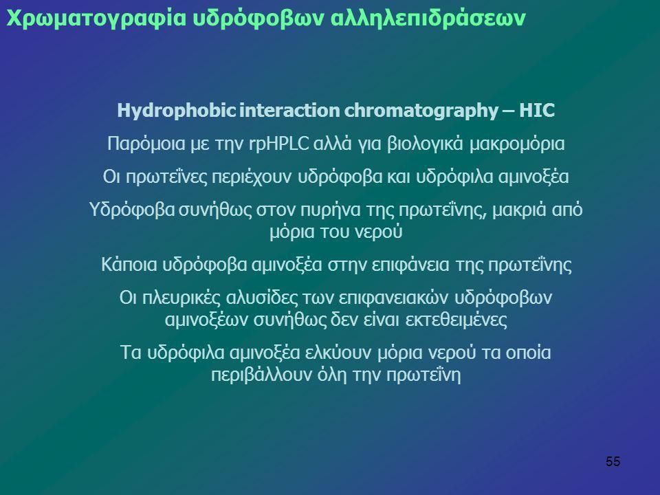 55 Χρωματογραφία υδρόφοβων αλληλεπιδράσεων Hydrophobic interaction chromatography – HIC Παρόμοια με την rpHPLC αλλά για βιολογικά μακρομόρια Οι πρωτεΐ