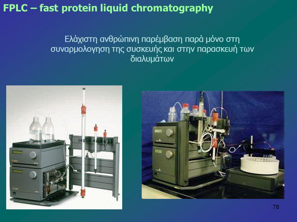76 Ελάχιστη ανθρώπινη παρέμβαση παρά μόνο στη συναρμολογηση της συσκευής και στην παρασκευή των διαλυμάτων FPLC – fast protein liquid chromatography