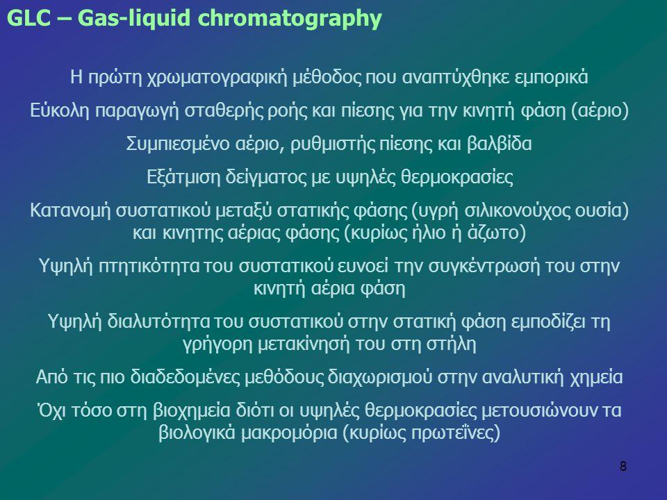 8 GLC – Gas-liquid chromatography Η πρώτη χρωματογραφική μέθοδος που αναπτύχθηκε εμπορικά Εύκολη παραγωγή σταθερής ροής και πίεσης για την κινητή φάση