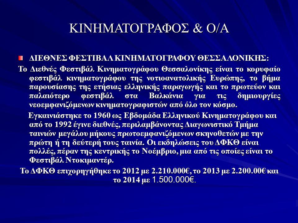 ΚΙΝΗΜΑΤΟΓΡΑΦΟΣ & Ο/Α ΔΙΕΘΝΕΣ ΦΕΣΤΙΒΑΛ ΚΙΝΗΜΑΤΟΓΡΑΦΟΥ ΘΕΣΣΑΛΟΝΙΚΗΣ: Το Διεθνές Φεστιβάλ Κινηματογράφου Θεσσαλονίκης είναι το κορυφαίο φεστιβάλ κινηματο