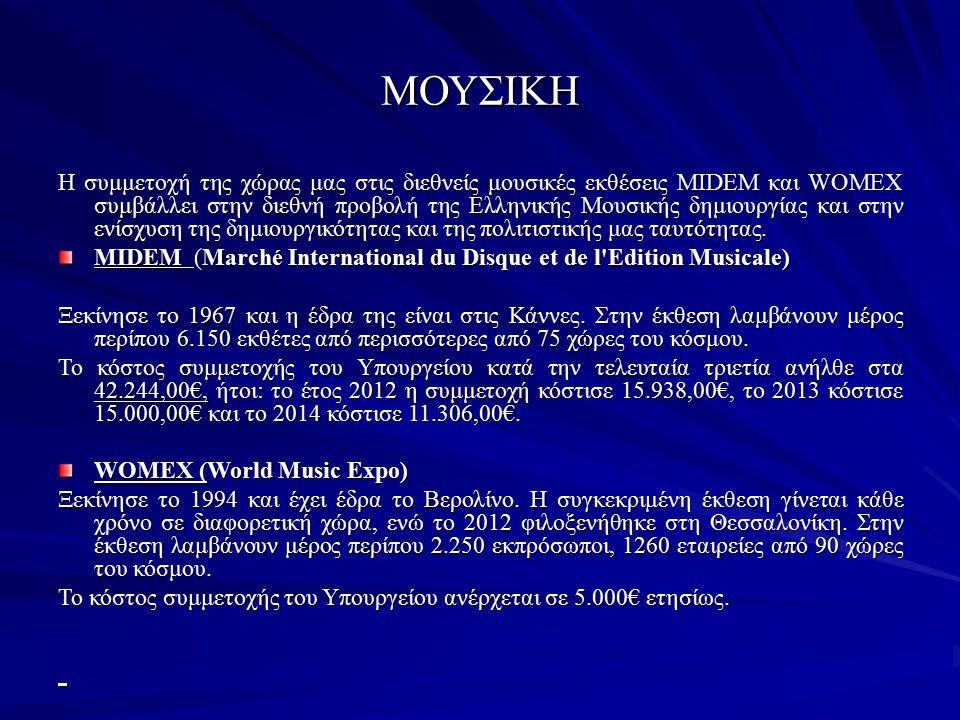ΜΟΥΣΙΚΗ Η συμμετοχή της χώρας μας στις διεθνείς μουσικές εκθέσεις ΜIDEM και WOMEX συμβάλλει στην διεθνή προβολή της Ελληνικής Μουσικής δημιουργίας και