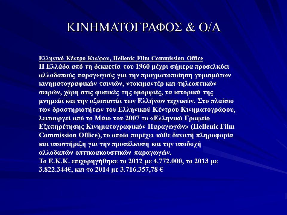 ΚΙΝΗΜΑΤΟΓΡΑΦΟΣ & Ο/Α Ελληνικό Κέντρο Κιν/φου, Hellenic Film Commission Office Η Ελλάδα από τη δεκαετία του 1960 μέχρι σήμερα προσελκύει αλλοδαπούς παρ