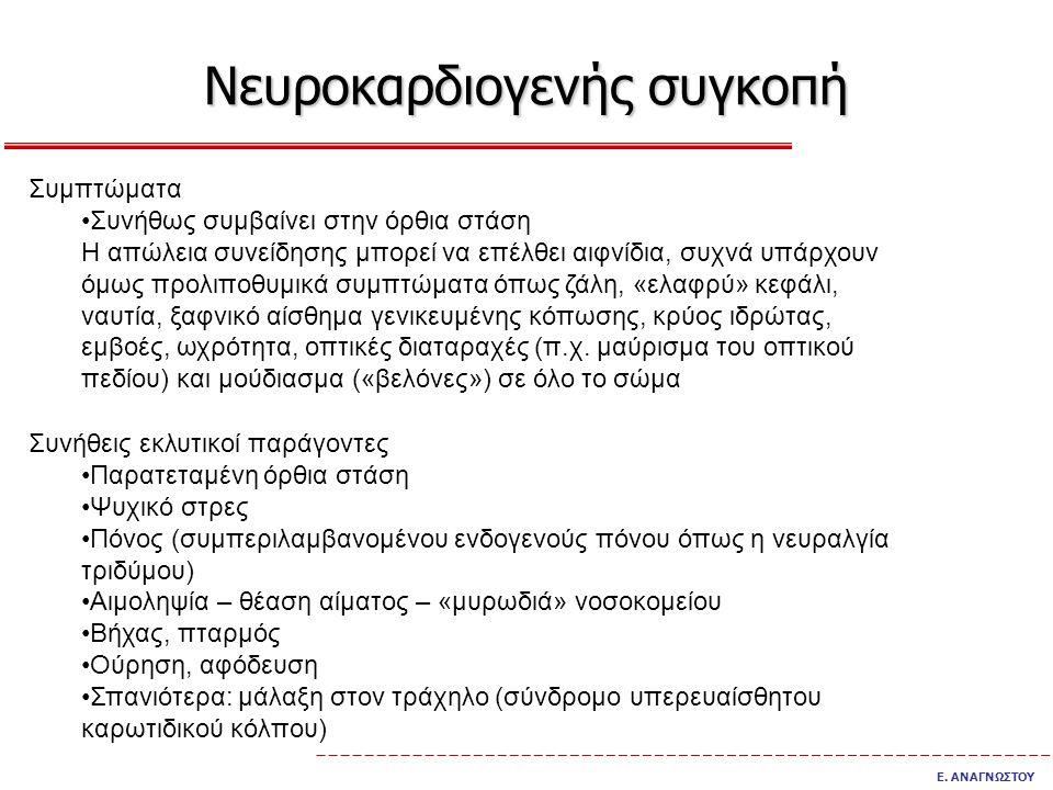 Νευροκαρδιογενής συγκοπή Ε.