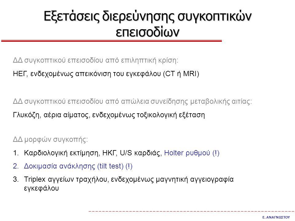 Εξετάσεις διερεύνησης συγκοπτικών επεισοδίων Ε. ΑΝΑΓΝΩΣΤΟΥ ΔΔ συγκοπτικού επεισοδίου από επιληπτική κρίση: ΗΕΓ, ενδεχομένως απεικόνιση του εγκεφάλου (