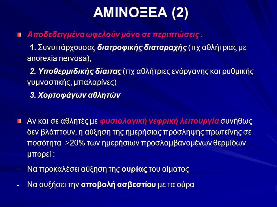 ΑΜΙΝΟΞΕΑ (2) Αποδεδειγμένα ωφελούν μόνο σε περιπτώσεις : 1. Συνυπάρχουσας διατροφικής διαταραχής (πχ αθλήτριας με anorexia nervosa), 1. Συνυπάρχουσας