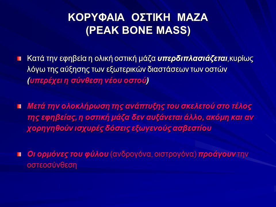 ΚΟΡΥΦΑΙΑ ΟΣΤΙΚΗ ΜΑΖΑ (PEAK BONE MASS) Κατά την εφηβεία η ολική οστική μάζα υπερδιπλασιάζεται,κυρίως λόγω της αύξησης των εξωτερικών διαστάσεων των οστ