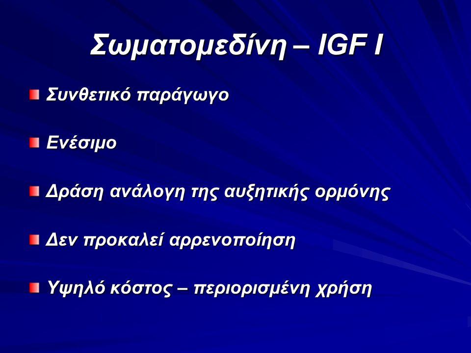 Σωματομεδίνη – IGF I Συνθετικό παράγωγο Ενέσιμο Δράση ανάλογη της αυξητικής ορμόνης Δεν προκαλεί αρρενοποίηση Υψηλό κόστος – περιορισμένη χρήση