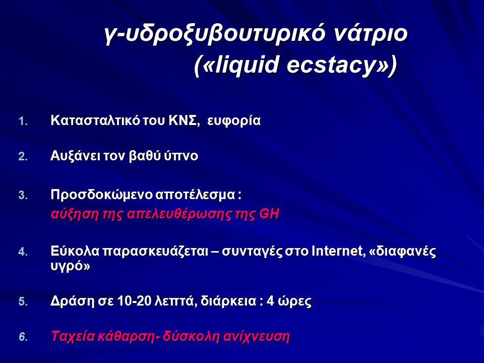 γ-υδροξυβουτυρικό νάτριο γ-υδροξυβουτυρικό νάτριο («liquid ecstacy») («liquid ecstacy») 1. Κατασταλτικό του ΚΝΣ, ευφορία 2. Αυξάνει τον βαθύ ύπνο 3. Π