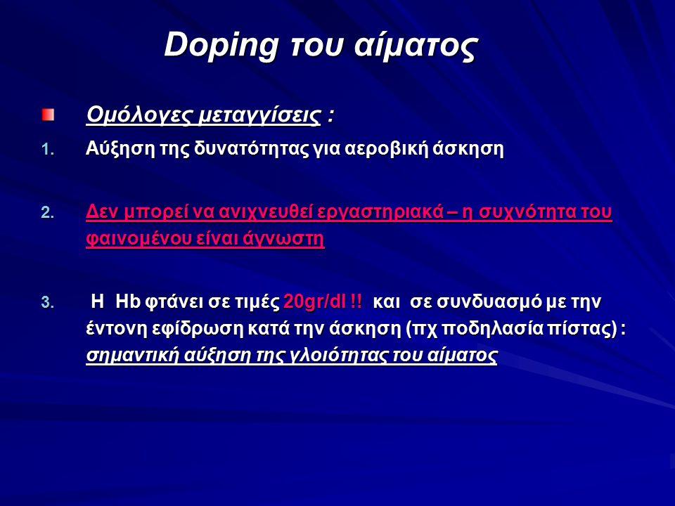Doping του αίματος Doping του αίματος Ομόλογες μεταγγίσεις : 1. Αύξηση της δυνατότητας για αεροβική άσκηση 2. Δεν μπορεί να ανιχνευθεί εργαστηριακά –