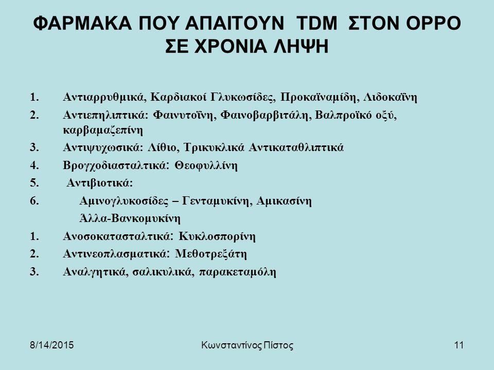 11 ΦΑΡΜΑΚΑ ΠΟΥ ΑΠΑΙΤΟΥΝ TDM ΣΤΟΝ ΟΡPΟ ΣΕ ΧΡΟΝΙΑ ΛΗΨΗ 1.Αντιαρρυθμικά, Καρδιακοί Γλυκωσίδες, Προκαϊναμίδη, Λιδοκαΐνη 2.Αντιεπηλιπτικά: Φαινυτοΐνη, Φαινοβαρβιτάλη, Βαλπροϊκό οξύ, καρβαμαζεπίνη 3.Αντιψυχωσικά: Λίθιο, Τρικυκλικά Αντικαταθλιπτικά 4.Βρογχοδιασταλτικά: Θεοφυλλίνη 5.