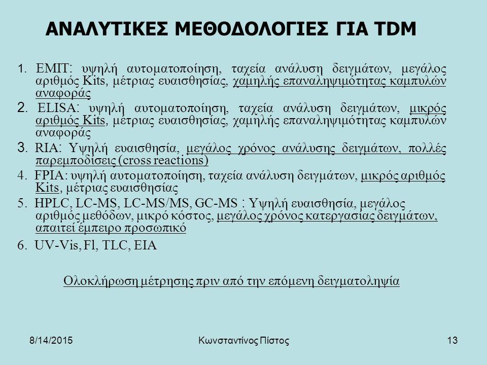 13 ΑΝΑΛΥΤΙΚΕΣ ΜΕΘΟΔΟΛΟΓΙΕΣ ΓΙΑ TDM 1. EMIT: υψηλή αυτοματοποίηση, ταχεία ανάλυση δειγμάτων, μεγάλος αριθμός Kits, μέτριας ευαισθησίας, χαμηλής επαναλη