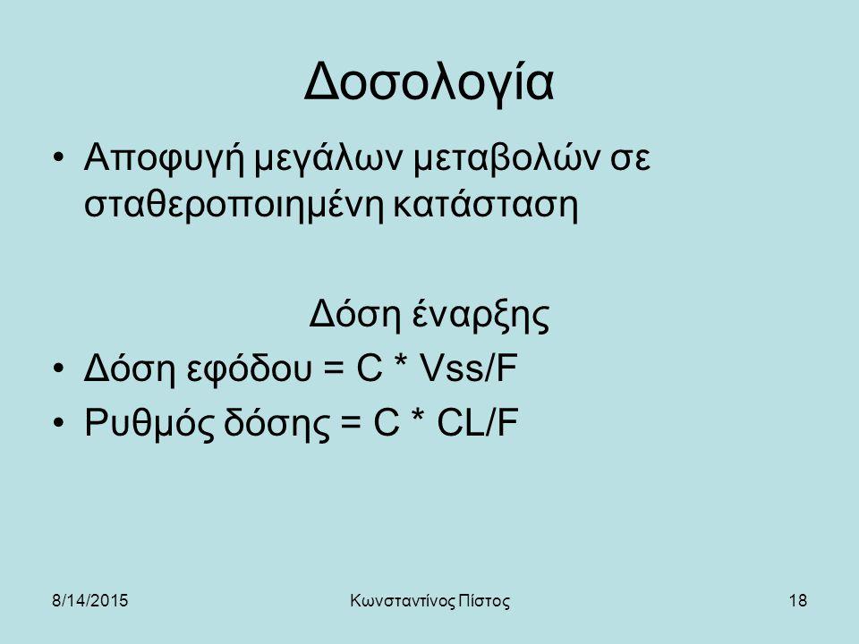 18 Δοσολογία Αποφυγή μεγάλων μεταβολών σε σταθεροποιημένη κατάσταση Δόση έναρξης Δόση εφόδου = C * Vss/F Ρυθμός δόσης = C * CL/F 8/14/2015Κωνσταντίνος