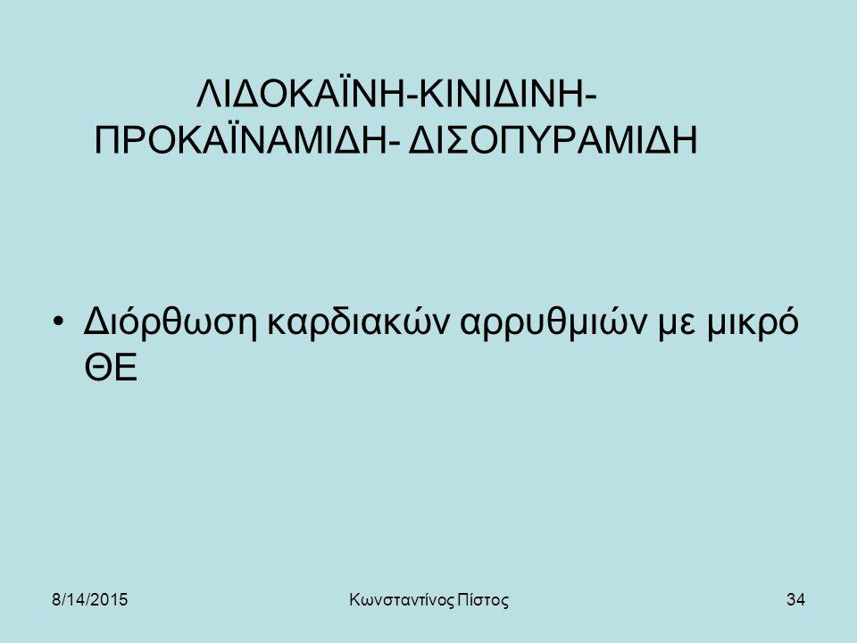 34 ΛΙΔΟΚΑΪΝΗ-ΚΙΝΙΔΙΝΗ- ΠΡΟΚΑΪΝΑΜΙΔΗ- ΔΙΣΟΠΥΡΑΜΙΔΗ Διόρθωση καρδιακών αρρυθμιών με μικρό ΘΕ 8/14/2015Κωνσταντίνος Πίστος