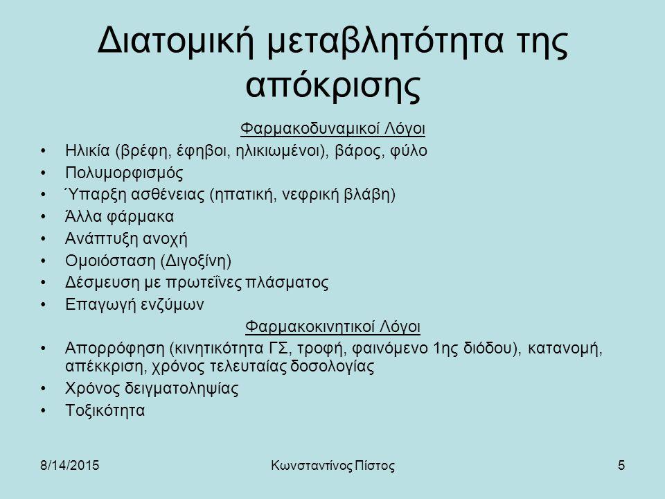 5 Διατομική μεταβλητότητα της απόκρισης Φαρμακοδυναμικοί Λόγοι Ηλικία (βρέφη, έφηβοι, ηλικιωμένοι), βάρος, φύλο Πολυμορφισμός Ύπαρξη ασθένειας (ηπατικ