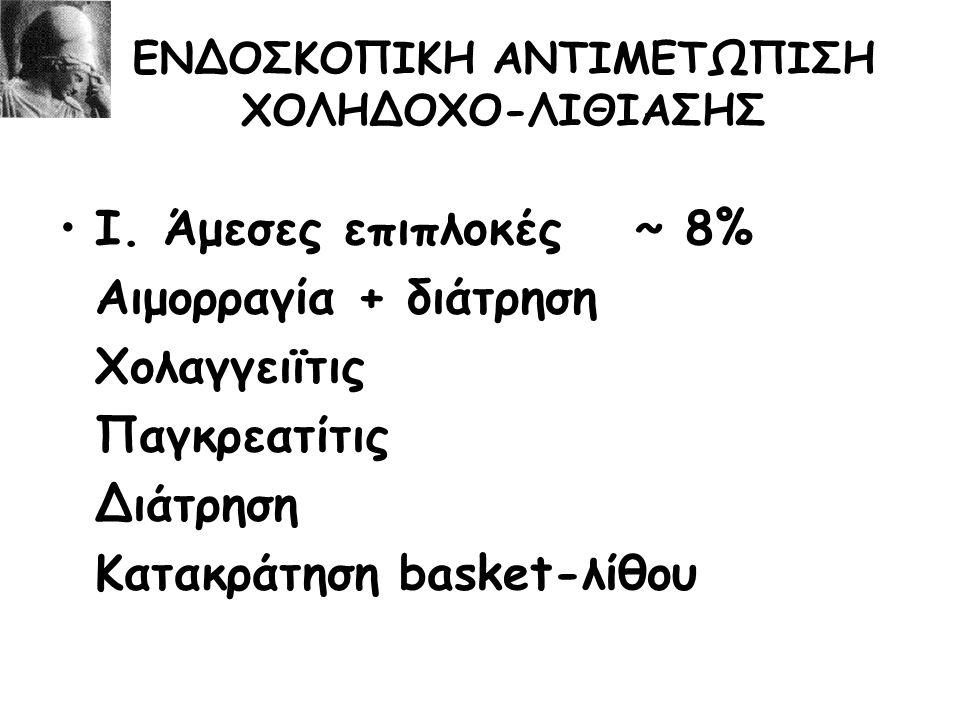 ΕΝΔΟΣΚΟΠΙΚΗ ΑΝΤΙΜΕΤΩΠΙΣΗ ΧΟΛΗΔΟΧΟ-ΛΙΘΙΑΣΗΣ Ι. Άμεσες επιπλοκές~ 8% Αιμορραγία + διάτρηση Χολαγγειϊτις Παγκρεατίτις Διάτρηση Κατακράτηση basket-λίθου