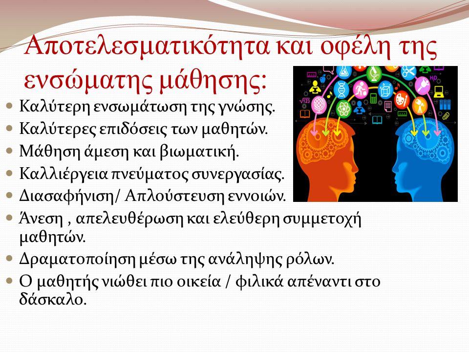 Αποτελεσματικότητα και οφέλη της ενσώματης μάθησης: Καλύτερη ενσωμάτωση της γνώσης. Καλύτερες επιδόσεις των μαθητών. Μάθηση άμεση και βιωματική. Καλλι