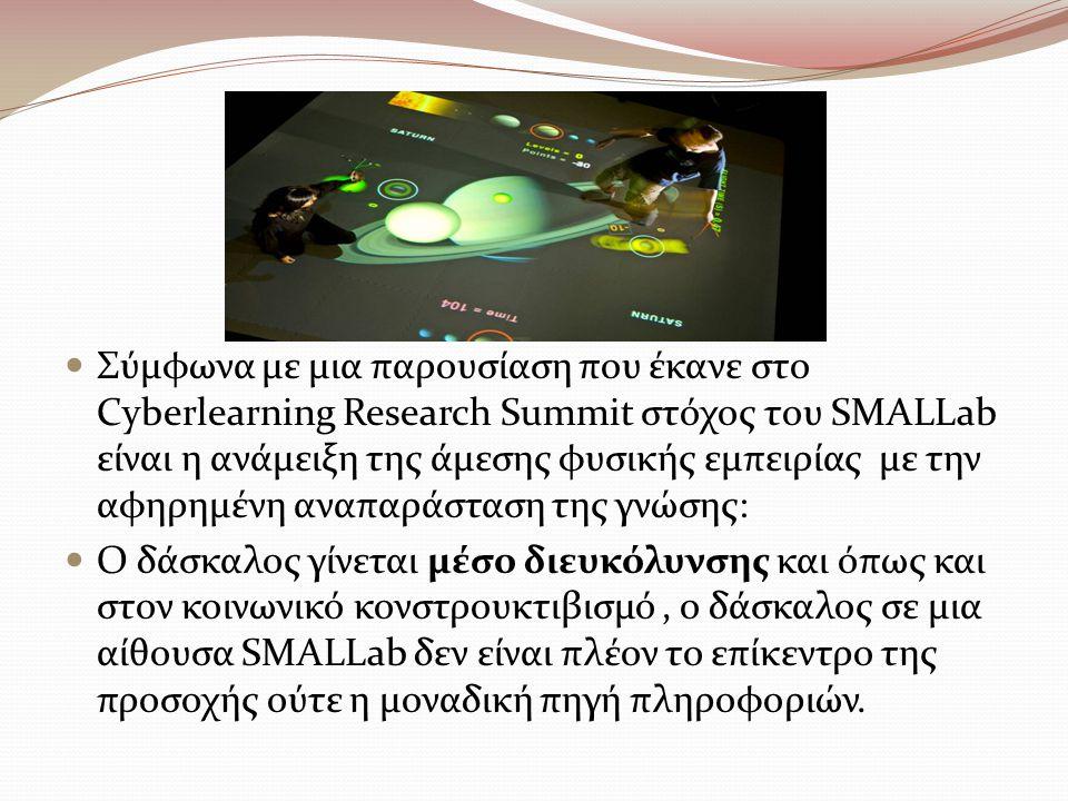 Σύμφωνα με μια παρουσίαση που έκανε στο Cyberlearning Research Summit στόχος του SMALLab είναι η ανάμειξη της άμεσης φυσικής εμπειρίας με την αφηρημένη αναπαράσταση της γνώσης: Ο δάσκαλος γίνεται μέσο διευκόλυνσης και όπως και στον κοινωνικό κονστρουκτιβισμό, ο δάσκαλος σε μια αίθουσα SMALLab δεν είναι πλέον το επίκεντρο της προσοχής ούτε η μοναδική πηγή πληροφοριών.