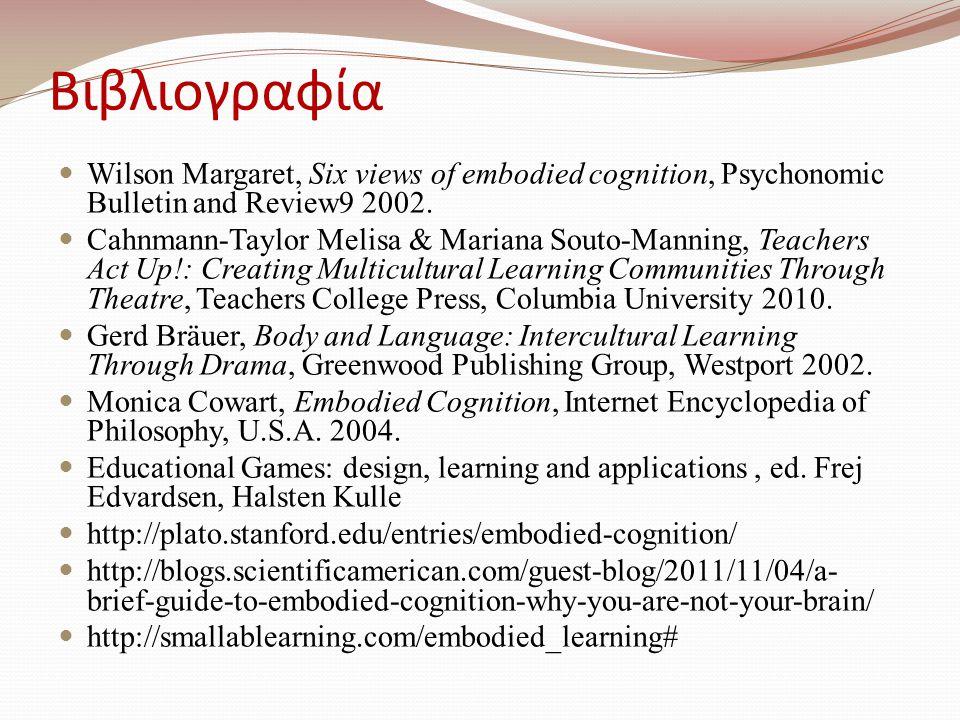 Βιβλιογραφία Wilson Margaret, Six views of embodied cognition, Psychonomic Bulletin and Review9 2002.