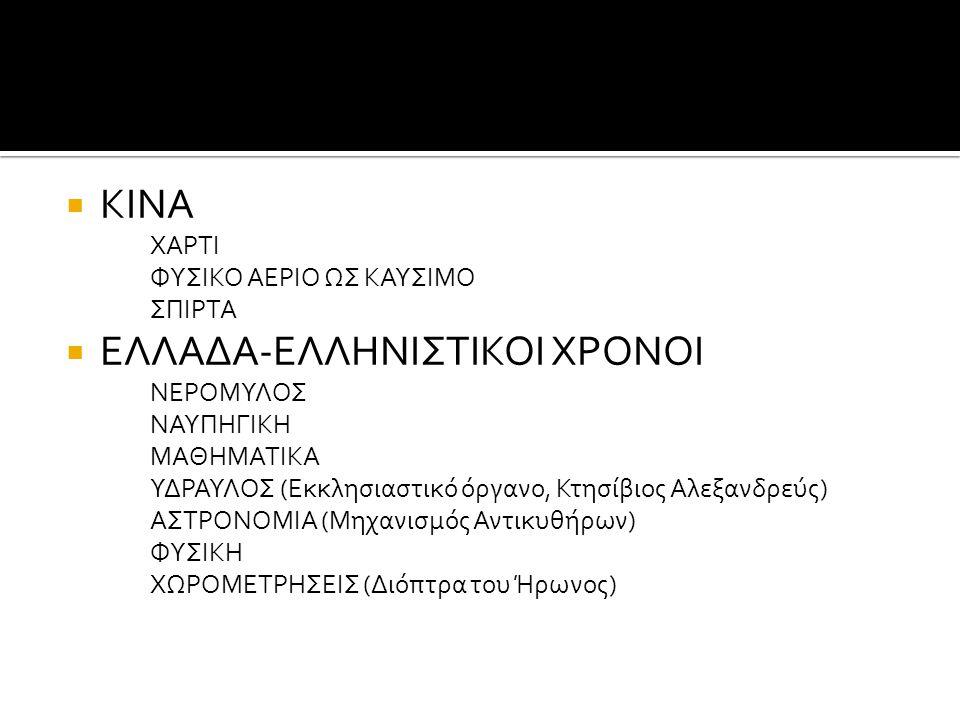  ΚΙΝΑ ΧΑΡΤΙ ΦΥΣΙΚΟ ΑΕΡΙΟ ΩΣ ΚΑΥΣΙΜΟ ΣΠΙΡΤΑ  ΕΛΛΑΔΑ-ΕΛΛΗΝΙΣΤΙΚΟΙ ΧΡΟΝΟΙ ΝΕΡΟΜΥΛΟΣ ΝΑΥΠΗΓΙΚΗ ΜΑΘΗΜΑΤΙΚΑ ΥΔΡΑΥΛΟΣ (Εκκλησιαστικό όργανο, Κτησίβιος Αλεξ