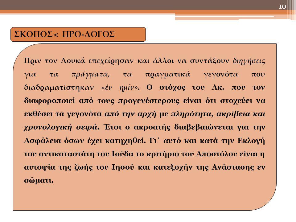 ΣΚΟΠΟΣ < ΠΡΟ-ΛΟΓΟΣ Πριν τον Λουκά επεχείρησαν και άλλοι να συντάξουν διηγήσεις για τα πράγματα, τα πραγματικά γεγονότα που διαδραματίστηκαν «ἐν ἡμῖν».