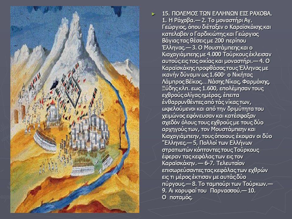 ► 15. ΠΟΛΕΜΟΣ ΤΩΝ ΕΛΛΗΝΩΝ ΕΙΣ ΡΑΧΟΒΑ. 1. Η Ράχοβα.— 2. Το μοναστήρι Αγ. Γεώργιος, όπου διέταξεν ο Καραϊσκάκης και κατελαβεν ο Γαρδικιώτης και Γεώργιος