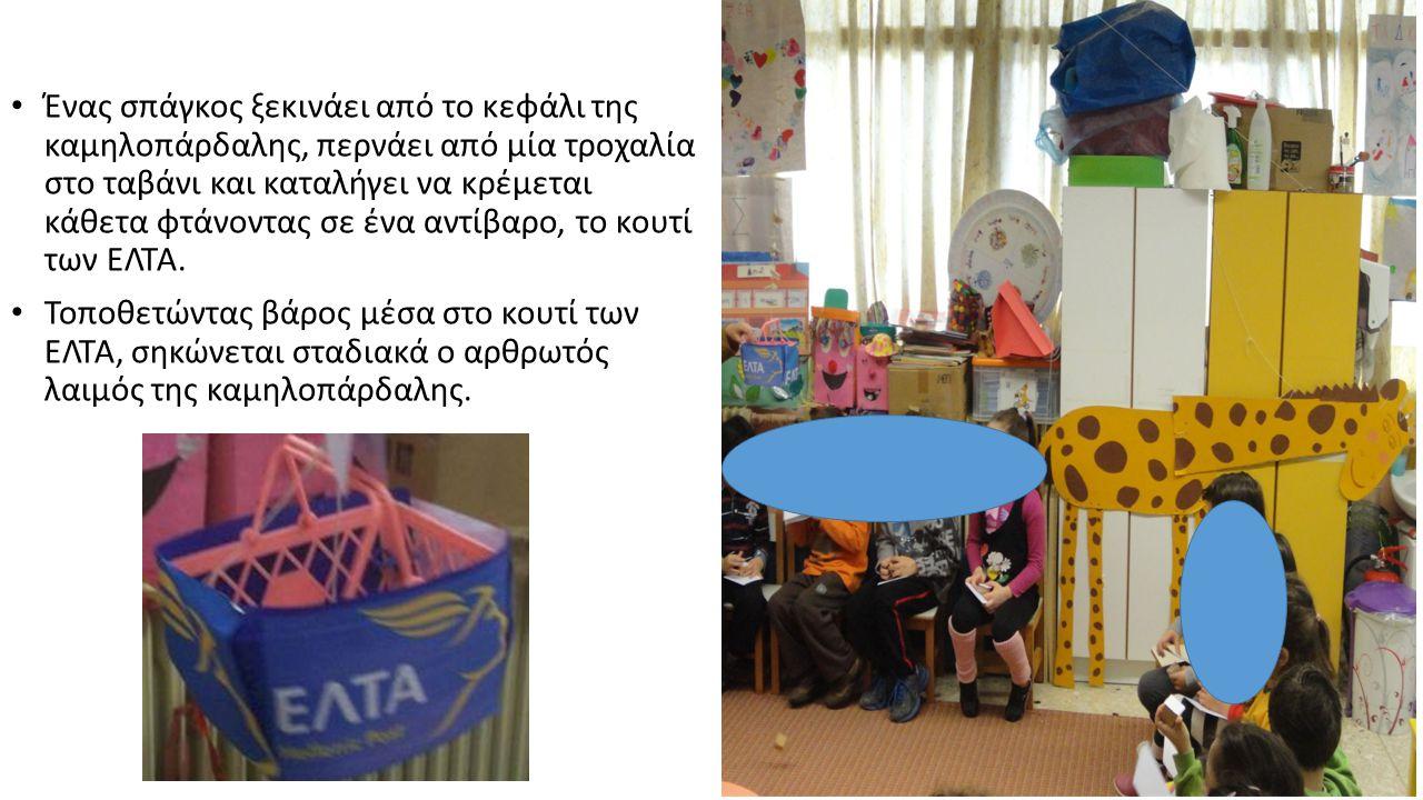 Ένας σπάγκος ξεκινάει από το κεφάλι της καμηλοπάρδαλης, περνάει από μία τροχαλία στο ταβάνι και καταλήγει να κρέμεται κάθετα φτάνοντας σε ένα αντίβαρο, το κουτί των ΕΛΤΑ.