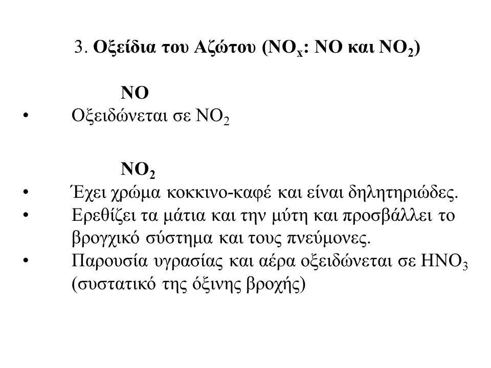 3. Οξείδια του Αζώτου (ΝΟ x : NO και ΝΟ 2 ) ΝΟ Οξειδώνεται σε ΝΟ 2 ΝΟ 2 Έχει χρώμα κοκκινο-καφέ και είναι δηλητηριώδες. Ερεθίζει τα μάτια και την μύτη