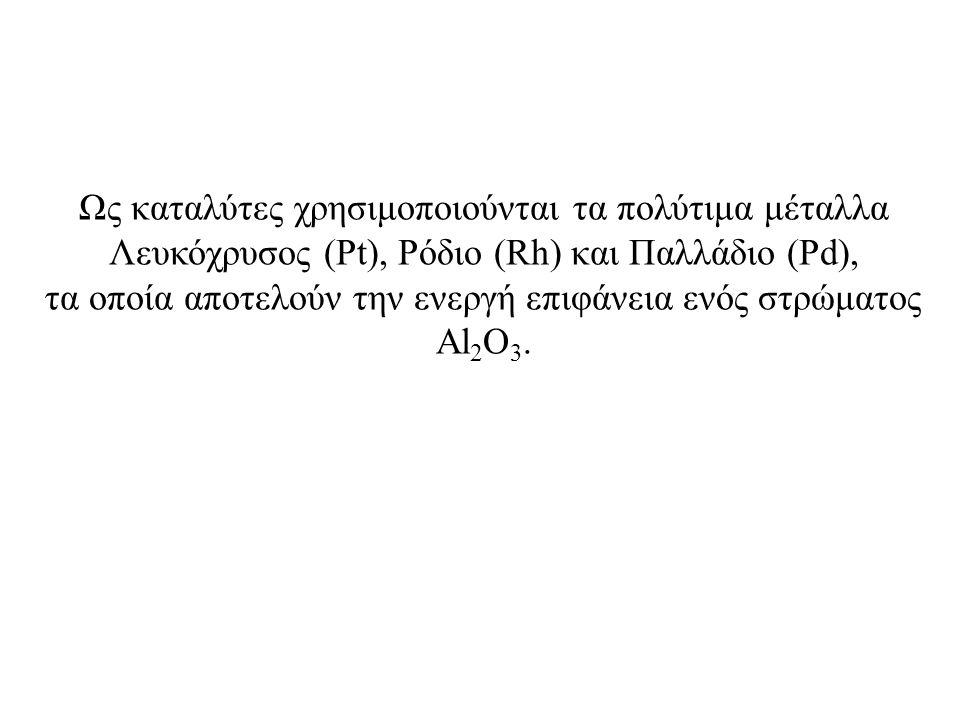 Ως καταλύτες χρησιμοποιούνται τα πολύτιμα μέταλλα Λευκόχρυσος (Pt), Ρόδιο (Rh) και Παλλάδιο (Pd), τα οποία αποτελούν την ενεργή επιφάνεια ενός στρώματ