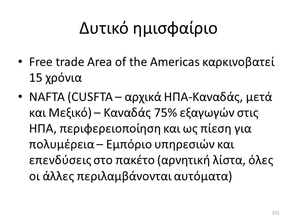 Δυτικό ημισφαίριο Free trade Area of the Americas καρκινοβατεί 15 χρόνια NAFTA (CUSFTA – αρχικά ΗΠΑ-Καναδάς, μετά και Μεξικό) – Καναδάς 75% εξαγωγών στις ΗΠΑ, περιφερειοποίηση και ως πίεση για πολυμέρεια – Εμπόριο υπηρεσιών και επενδύσεις στο πακέτο (αρνητική λίστα, όλες οι άλλες περιλαμβάνονται αυτόματα) 101