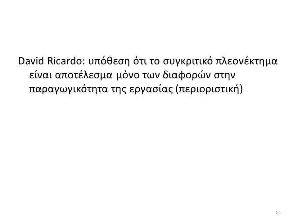 David Ricardo: υπόθεση ότι το συγκριτικό πλεονέκτημα είναι αποτέλεσμα μόνο των διαφορών στην παραγωγικότητα της εργασίας (περιοριστική) 21