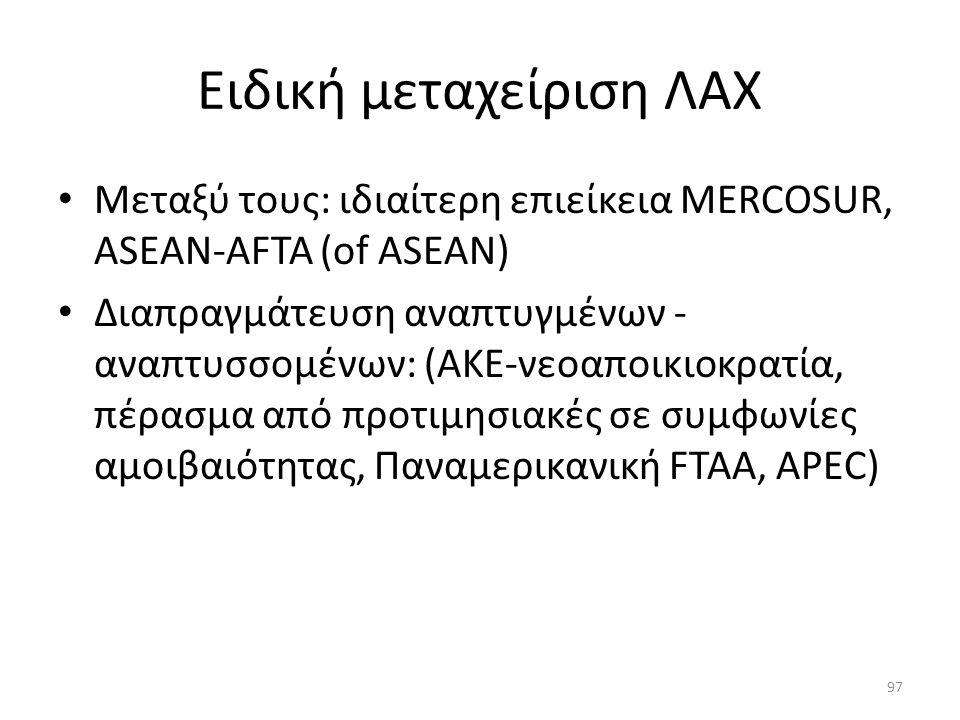 Ειδική μεταχείριση ΛΑΧ Μεταξύ τους: ιδιαίτερη επιείκεια MERCOSUR, ASEAN-AFTA (of ASEAN) Διαπραγμάτευση αναπτυγμένων - αναπτυσσομένων: (ΑΚΕ-νεοαποικιοκρατία, πέρασμα από προτιμησιακές σε συμφωνίες αμοιβαιότητας, Παναμερικανική FTAA, APEC) 97