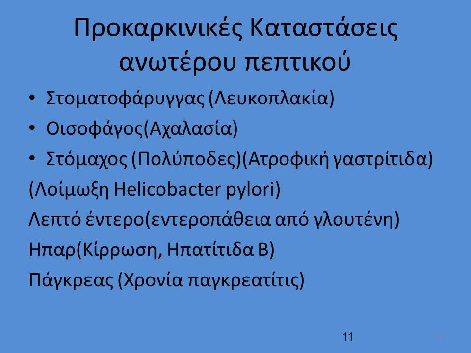 Προκαρκινικές Καταστάσεις ανωτέρου πεπτικού Στοματοφάρυγγας (Λευκοπλακία) Οισοφάγος(Αχαλασία) Στόμαχος (Πολύποδες)(Ατροφική γαστρίτιδα) (Λοίμωξη Helicobacter pylori) Λεπτό έντερο(εντεροπάθεια από γλουτένη) Ηπαρ(Κίρρωση, Ηπατίτιδα Β) Πάγκρεας (Χρονία παγκρεατίτις) 11